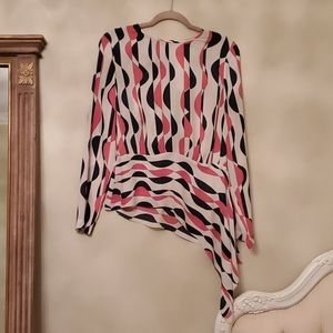 BCBG Maxazria Size M, Pink, Navy and Creme Blouse
